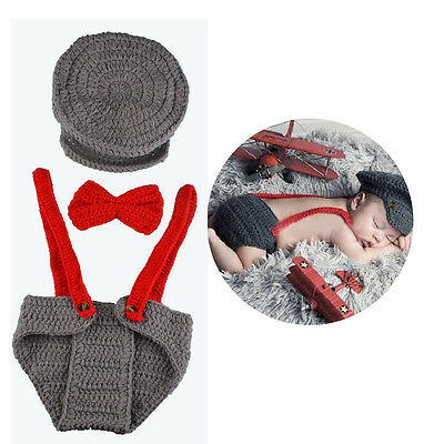 Lovely Baby Infant Crochet Hat Photography Props Outfit Set Studio Photo Supply