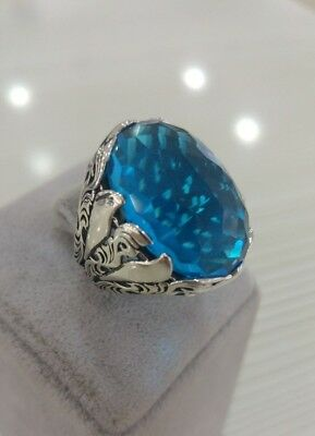 Turkish Sterling 925 Silver Mens Jewelry Aquamarine Gemstone  Men's Ring
