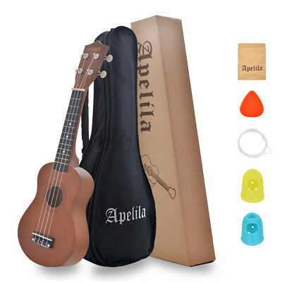 21 Inch Wood Soprano Ukulele 4 Strings Mini Guitar Shape 12 Frets With Carry Bag
