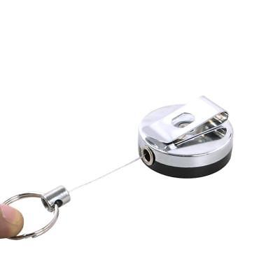 Metal Retractable Card Badge Holder Steel Recoil Ring Pull Belt Clip KeyChain~~