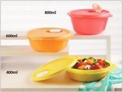 Tupperware Crystal wave Bowl Set of 3 -(400ml +600ml +800ml) New One free ship