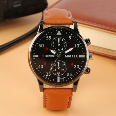 Luxury Casual Men's Quartz Wrist Watches Leather Watch Strap Analog Dial Gift