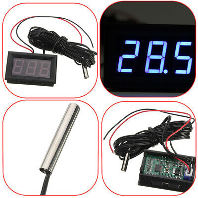 DC 12V Thermometer digital LED Temperatur Anzeige + Sensor Sonde -50° bis +110°