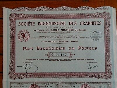 Tonkin -Haiphong / Indochinoises Des Graphites / Part Beneficiaire / 1926