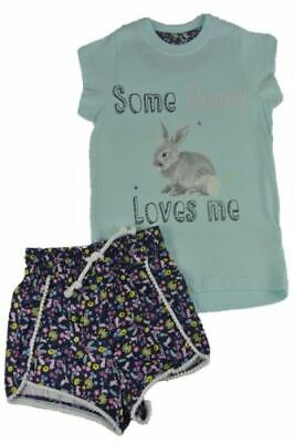 Ex Store Girls Some Bunny Loves Me Floral Short Summer Pyjamas 3 4 5 6 7 8 9