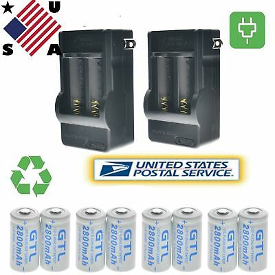 8pc CR123A 3.7V 16340 2800Mah Rechargeable Lithium Battery +2x 2 Slot Charger US