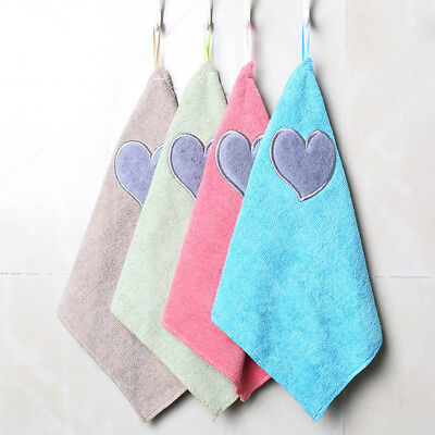 Kitchen Cleaning Cloth Household Hand Towel Heart Pattern Dishcloth Hanging md