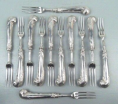 12 Antique English Sterling Silver Pistol Grip Luncheon Forks w silver tines -SL