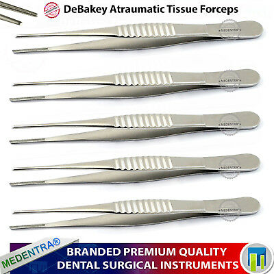 DeBakey Forceps Thumb Tissue Tweezers Dissecting Atraumatic Serrated Jaw Forceps