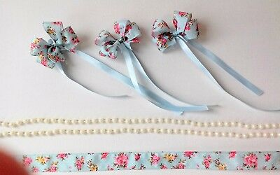Vintage cake decoration set, floral ribbon and bows, pearl bead detail 2m,