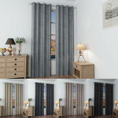 Thermal Blackout Eyelet Ring top Curtains Pair Ready Made W/ Tie Backs 7 Sizes