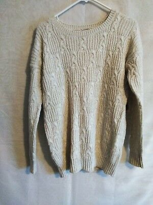 FOREVER 21 CREAM Frayed Sweater-Knit Crop Top Small S -  24.99 ... ccd276b48