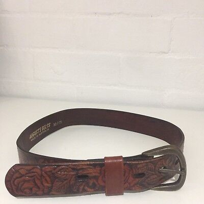 Vintage Brown TOOLED 70's BELT Country Hippy UNISEX Boho Embossed LEATHER