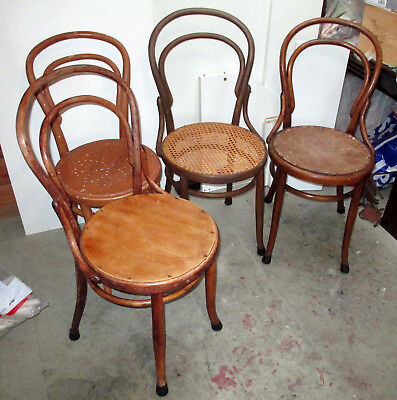 antique bentwood chairs, four, suitable for restoration. $80 the lot.