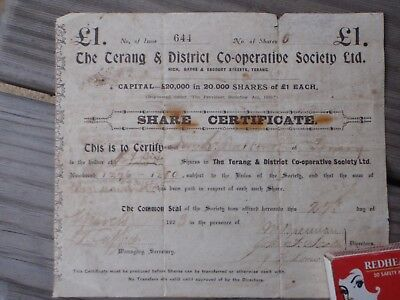 Terang  Vic. Co-Operative  1923   Share Certificate' One Pound'