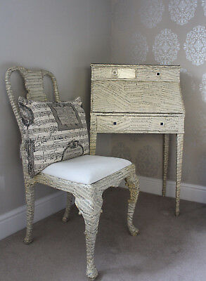 Antique Writing Desk Bureau and Chair Restyled with Musical Manuscript