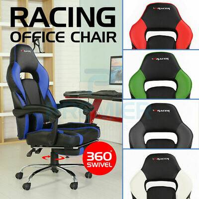Racing Leather F1Racer Sports Office Chair Reclining Gaming Desk Pc Car Computer