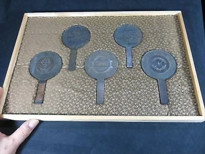Old Japanese Hand Mirror set of five Edo period antique Japan