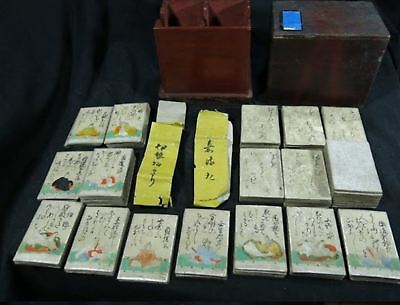 Old Japanese playing cards game HYAKUNIN ISSHU Edo period antique Japan