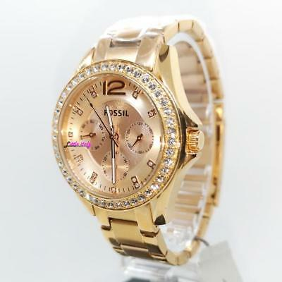 Fossil Riley Multifunction Rose Gold Plated Ladies Watch Es2811