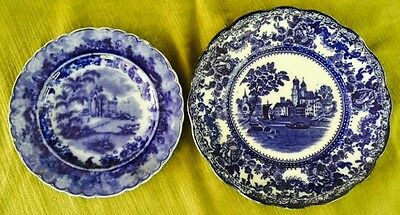 Flow Blue LOT of TWO BEAUTIFUL PLATES From Old Estate! ANTIQUE Staffordshire