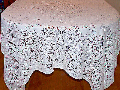 "BEAUTIFUL VINTAGE QUAKER LACE TABLECLOTH, QUAKER LOOP, 76"", COTTON, c1940"