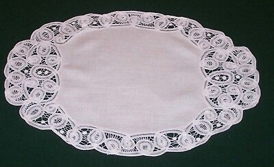 8 Gorgeous Vintage Battenburg Lace Linen Placemats, Napkins, Pristine Condition