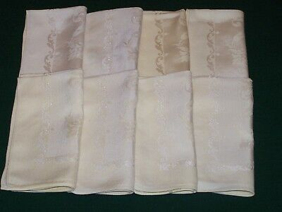 "8 Vintage Damask Napkins, Lemon Yellow, Scrolling Leaf Design, 16"", Ex Cond 1940"