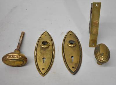 Antique Heavy Cast Brass Oval Door Plates / Knobs Beaded Trim Leaf Pattern