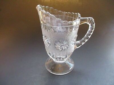Eapg ~ Clear Glass Creamer/Syrup Pitcher ~ Flower/Pinwheel Design? Ribbed Handle