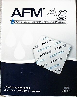 """10 Milliken AFM Ag Fluid Management Silver Antimicrobial Wound Dressings 4"""" x 5"""""""