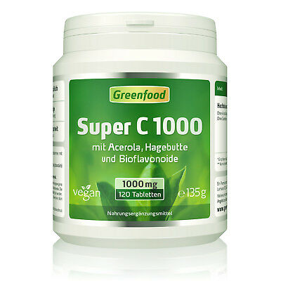 Greenfood Super C, 1000mg Vitamin C, hochdosiert 120 Tabletten