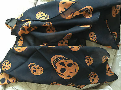 "NEW Silky Black & Orange SKULLS Scarf 15"" X 56"" HALLOWEEN"