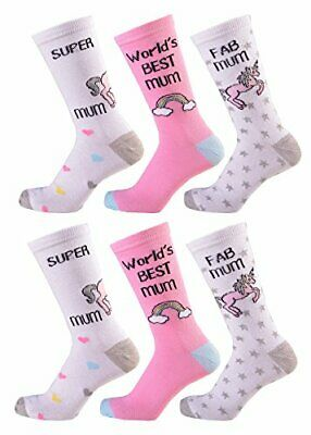 Ladies Womens 6 Pairs Design Socks Novelty Socks Coloured Cotton Rich Size 4-7