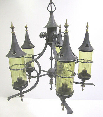 Vtg Gothic Wrought Iron Chandelier Light Fixture Medieval Storybook Fairytale