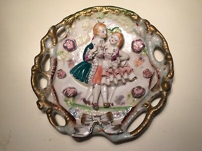 Vintage Chase Victorian Style 3-D Wall Plaque Hand Painted Bone Lace