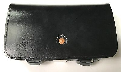 Civil War Us Csa Enfield Rifle Musket Cartridge Ammo Box W/ Tins- Black Leather