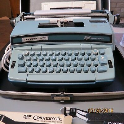 Smith Corona Coronet Super 12 Coronamatic Port. Electric Typewriter Blue w/CASE