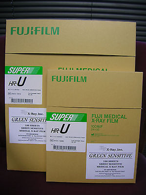 "Fuji HR-U 14""x17"" AND 24x30cm X-ray Film(Green) 100sht box ( 1 box of each)"