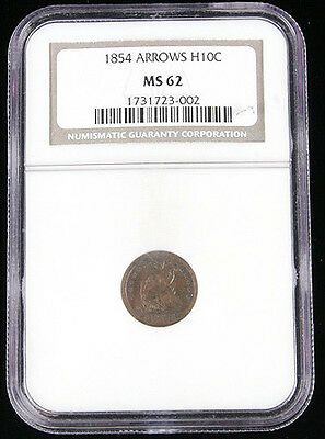 1854 Arrows H10C Ms62 Ngc Seated Liberty Half Dime