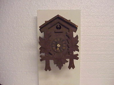 "Vintage Brown 9"" H Herr Cuckoo Clock Pendulette with Large Bellows part repair F"