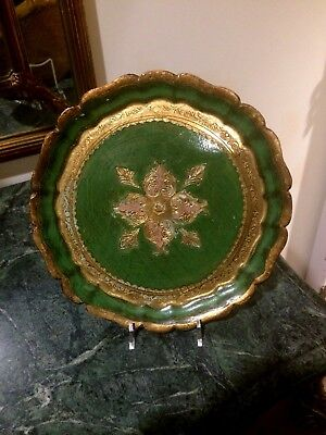Florentine  Toleware  Round gold & Green Tray /Platter Gilt Wood Tole Italy Made