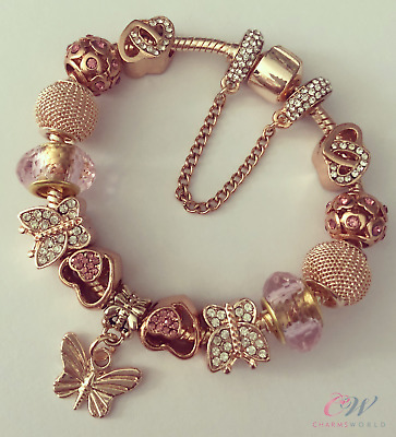 Girl's Rose Gold Plated Butterfly Charm Bracelet with Pink Charms - For Child
