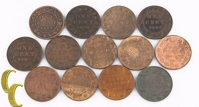 1881-1917 Canada 1 Cents Lot ( F-Bu , 13 Pièces) Grand Penny One 1c KM-7 8 21