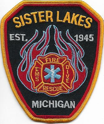 Fire Department MICHIGAN Patch SISTER LAKES USA Feuerwehr Abzeichen Dive Rescue