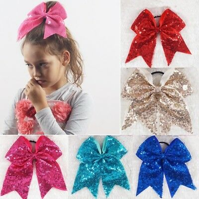 """7"""" Solid Sequin Cheer Bow For Girls Kids Boutique Ribbon Bow With Elastic Bands"""