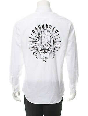 e28da29f DSQUARED2 White Button Front Casual Shirt With Textured Logo Size 48 Italy  NWT