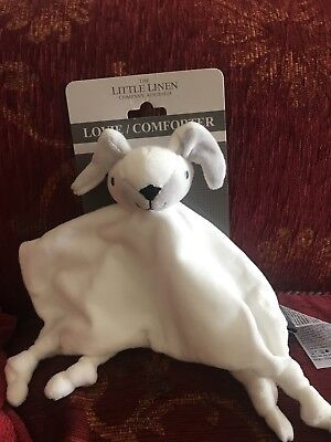 The Little Linen Company White Dog Baby Blanket Soft Toy Plush
