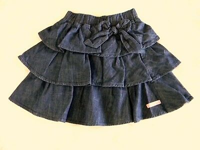 Ruffle Skirt by Ruffle Butts blue dark wash denim,elastic waist with bow size 6