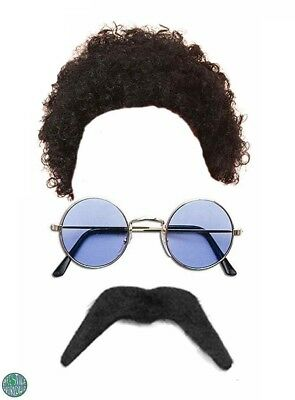 Hippy Hippie Adults 1960s 1970s Fancy Dress Costume Afro Wig Tash Glasses New
